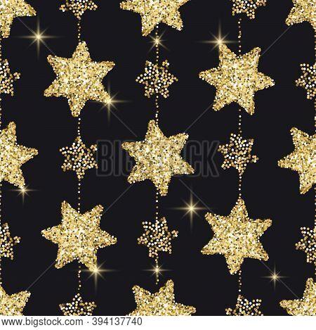 Gold Glitter Confetti Seamless Vector Pattern. Golden Star Texture Sparcle Design, Glittering, Shiny