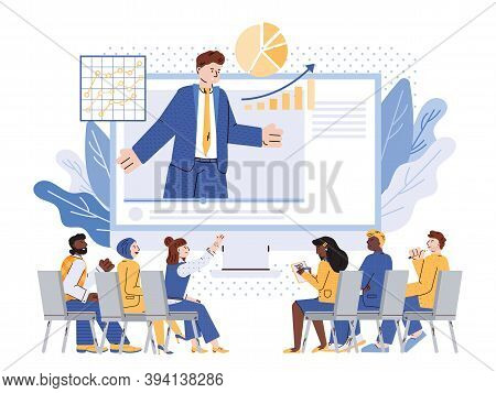 Corporate Training Or Business Coaching With Cartoon Characters, Flat Vector Illustration Isolated O