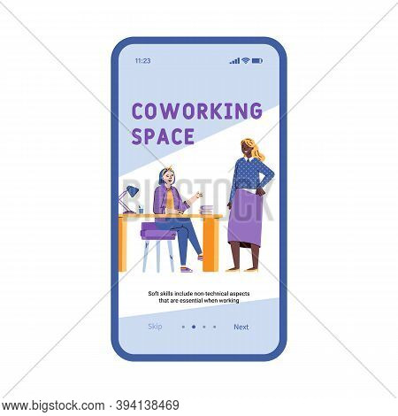 Coworking Space Onboarding Mobile Screen Template With Coworkers Team Working Together, Flat Cartoon