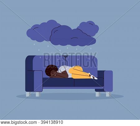 Sad Unhappy Young Woman Lying On Couch In Depression And Despair Mood, Flat Vector Illustration On B