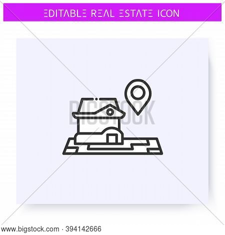 House Location Line Icon. Convenient Location Of The Home. Real Estate Agency, Housing Business Conc