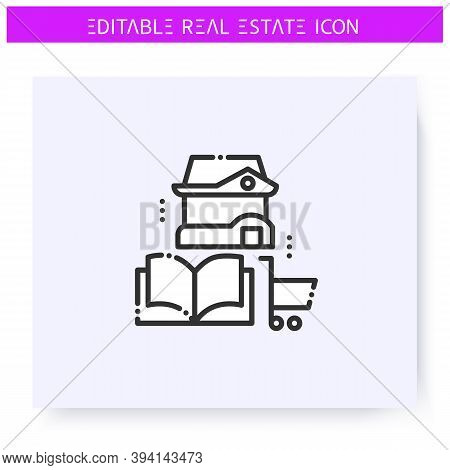 Buyers Guide Line Icon. Information For Real Estate Agency Clients. Lease Or Purchase Terms. Housing