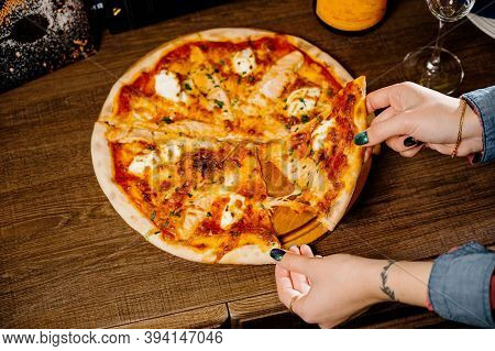 Pizza With Chicken, Mozzarella, Olives And Basil Top View With Copy Space.pizza With Chicken And Pic