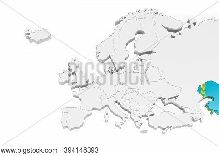 3d Europe Map With Marked Borders - Area Of Kazakhstan Marked With Kazakhstan Flag - Isolated On Whi