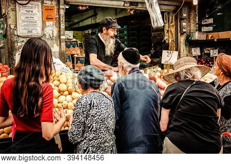 Jerusalem Israel May 02, 2019 View Of Unidentified People Shopping At Mahane Yehuda Market In Jerusa