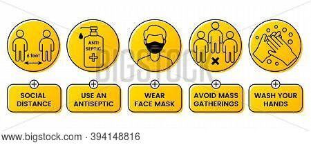 Safety Instructions For Covid 19 During Quarantine. Wear A Mask. Keep Your Distance. Avoid Mass Gath