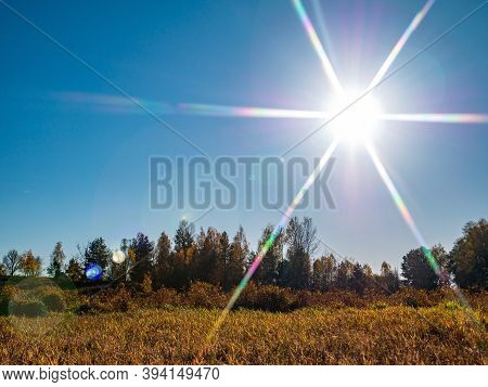 Sun On A Background Of Blue Sky Over An Autumn Field. Yellow Foliage. Autumn Season. Blue Cloudless