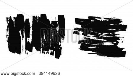 Abstract Striped Expressive Textures Of Black Ink Or Watercolor Brush Strokes. Mysterious Dynamic Is