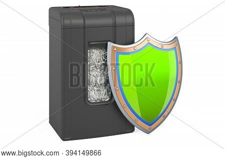 Shredder With Shield, 3d Rendering Isolated On White Background