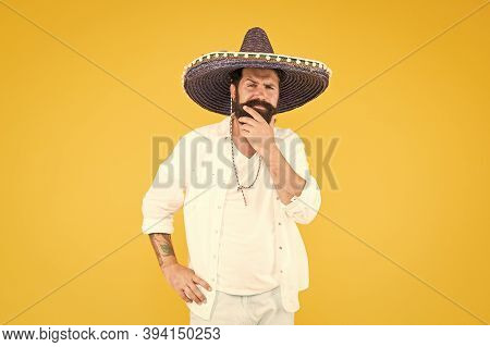 Cinco De Mayo. Mexican Day Of The Dead. 5th Of May. Let Have Fun. Celebrating Fiesta. Happy Man In M