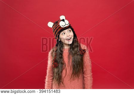 Make A Wish. Happy Childhood. Happy Teen Girl Wear Warm Clothes. Feel Comfortable And Cozy In Any We
