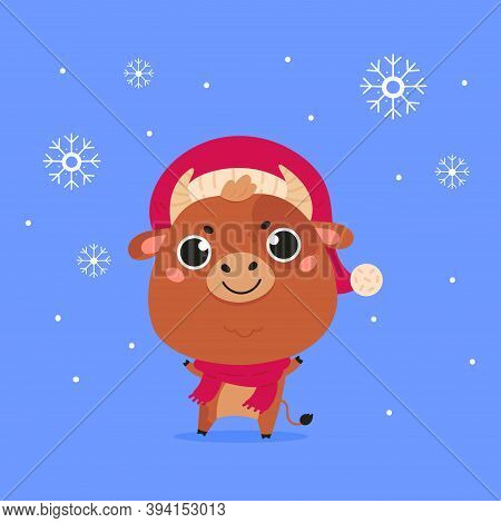 Cute Cartoon Ox With The Snowflakes. Design For Greeting Cards, Advertising, Banners, Prints. Xmas C