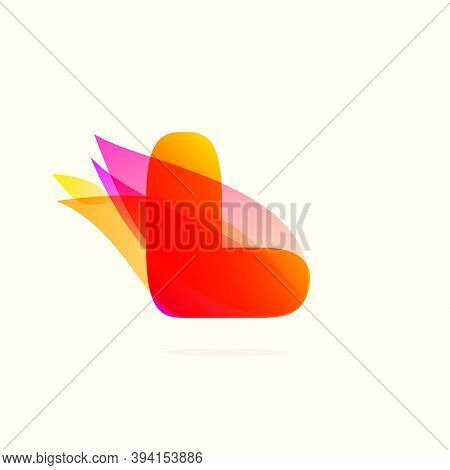 Burning Fire L Letter Logo With Red Tails. Vector Watercolor Typeface For Danger Labels, Fast Speed