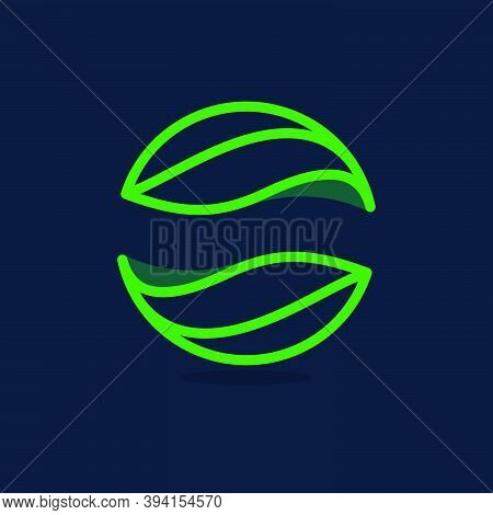 Ecology Sphere Line Logo Made Of Twisted Green Leaves. Vector Icon For Agriculture Labels, Botanical