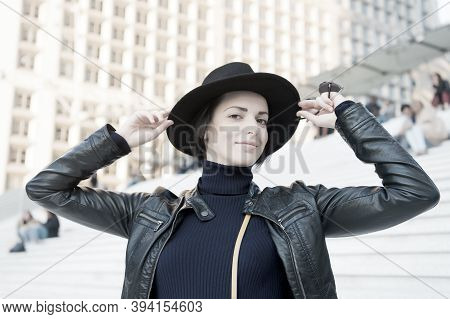 Woman In Black Hat Smile On Stairs In Paris, France, Fashion. Sensual Woman With Brunette Hair, Hair