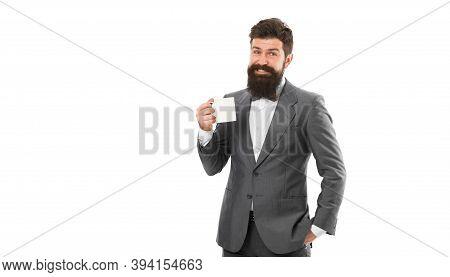 Make Pause Drink Tea. Men Bearded Guys Relaxing Coffee Break Business Conference. Inspiring Drink. E