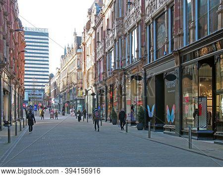 Leeds, West Yorkshire, United Kingdom - 22 February 2020: People Walking King Edward Street In The C