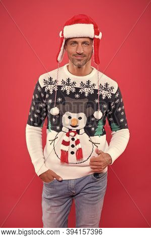 Festive Clothes. Christmas Concept. Guy In Fashionable Sweater Celebrate Winter. Winter Sale. Season