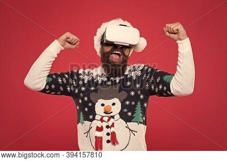 Virtual Achievement. Future Technologies. Virtual Life. Man Celebrate Christmas Virtual Reality Devi