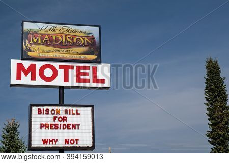 West Yellowstone, Montana - September 23, 2020: Sign For The Historic Madison Hotel Motel And Gift S