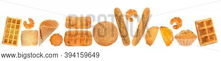 Bread and other baked goods isolated on white background.