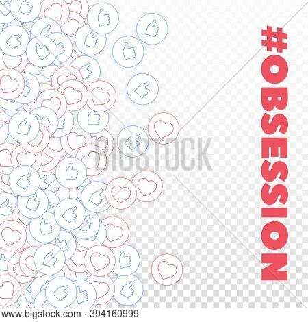 Social Media Icons. Social Media Obsession Concept. Falling Scattered Thumbs Up Hearts. Scatter Left