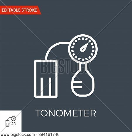 Tonometer Thin Line Vector Icon. Flat Icon Isolated On The Black Background. Editable Stroke Eps Fil