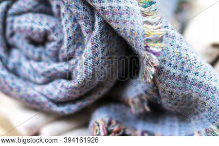 Knitting Cashmere Wool Yarn, Closeup Blue Blanket, Home Decor, Blue Tabby Cashmere Blanket Rolled Up