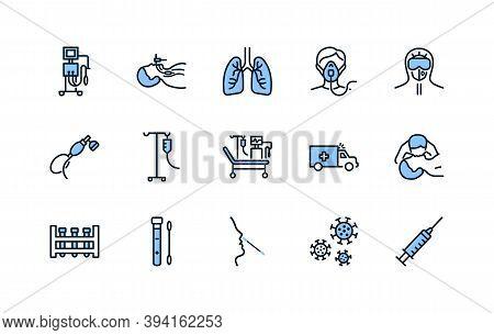Artificial Lung Ventilation Flat Line Icons Set Blue Color. Vector Illustration Coronovirus Test And