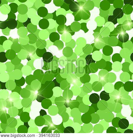 Glitter Seamless Texture. Actual Green Particles. Endless Pattern Made Of Sparkling Circles. Classy