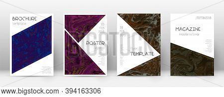Abstract Cover. Symmetrical Design Template. Suminagashi Marble Triangle Poster. Symmetrical Trendy