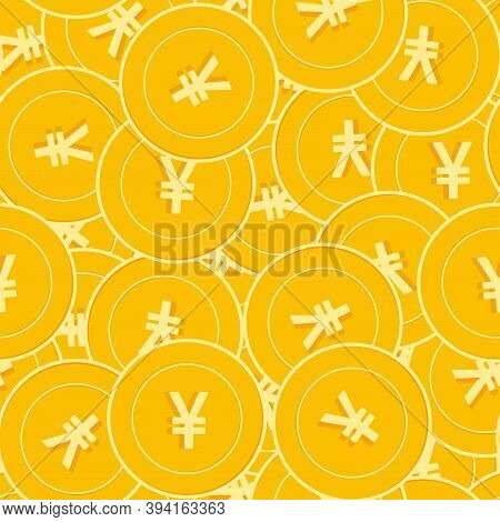 Chinese Yuan Coins Seamless Pattern. Impressive Scattered Cny Coins. Big Win Or Success Concept. Chi