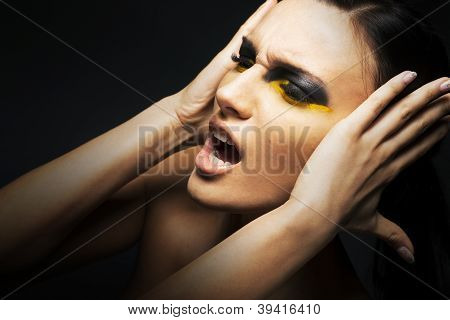 Emotions. Headache. Young woman screaming. Pain - abuse poster