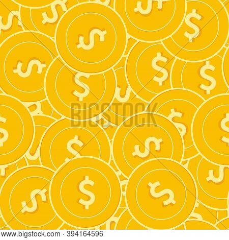 American Dollar Coins Seamless Pattern. Fine Scattered Usd Coins. Big Win Or Success Concept. Usa Ch