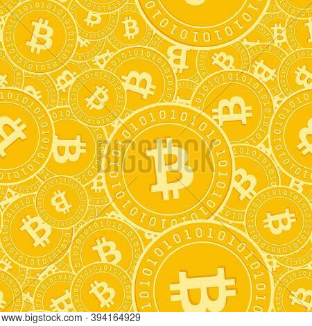Bitcoin, Internet Currency Coins Seamless Pattern. Tempting Scattered Btc Coins. Big Win Or Success