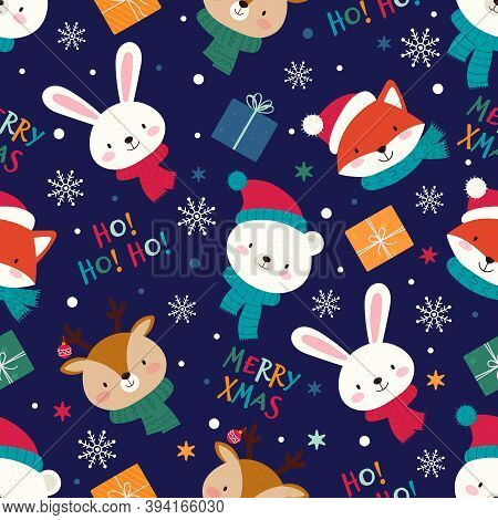 Seamless Christmas Pattern With Cute Animals, Gifts And Lettering. Vector Illustration