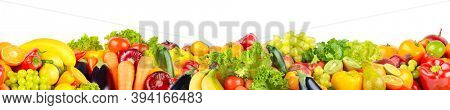 Horizontal seamless pattern of fruits and vegetables isolated on white background.