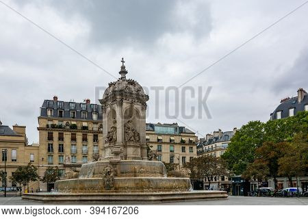Paris, France - August 29, 2019 : The Fountain Of The Saint-sulpice Square. Saint-sulpice Is A Roman