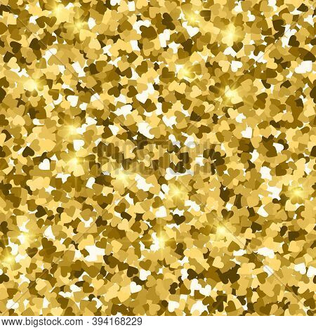 Glitter Seamless Texture. Actual Gold Particles. Endless Pattern Made Of Sparkling Hearts. Memorable