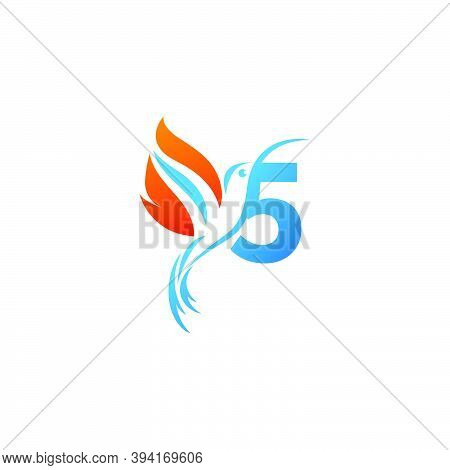 Number 5 Combined With The Fire Wing Hummingbird Icon Logo