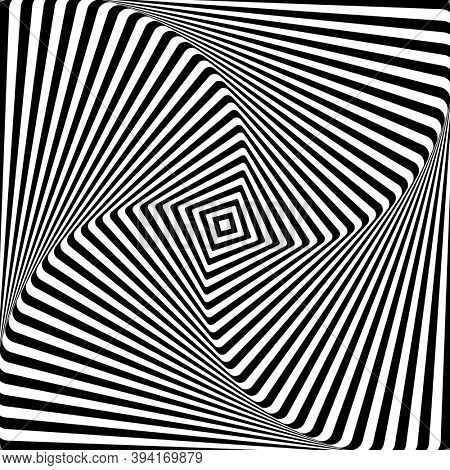 Abstract op art graphic design. Illusion of torsion rotation movement. 3D effect.