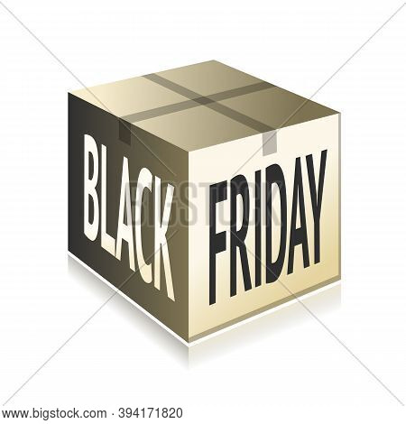 Black Friday Cardboard Package With Printed Text And Sealed Top