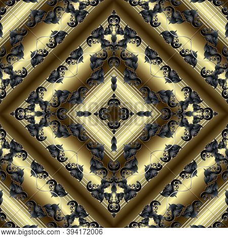 Baroque 3d Vector Seamless Pattern. Geometric Striped Surface Gold Background. Damask Textured Rich