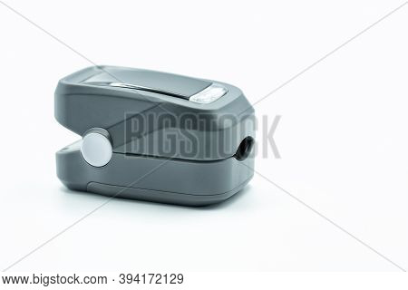 A Pulse Oximeter To Obtain Data On Blood Oxygen, Pulse Rate, And Pulse Strength. Isolated On White.