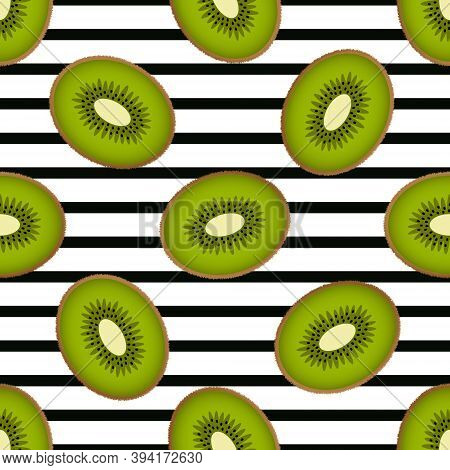 Cute Kiwi Seamless Pattern On A Striped Background. Colorful Fluffy Half Kiwi Fruits On A White Back
