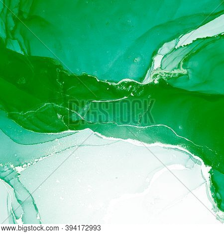 Gradient Invitation. Liquid Shape. Watercolour Image. Green Gradient Invitation. Flow Background. Al