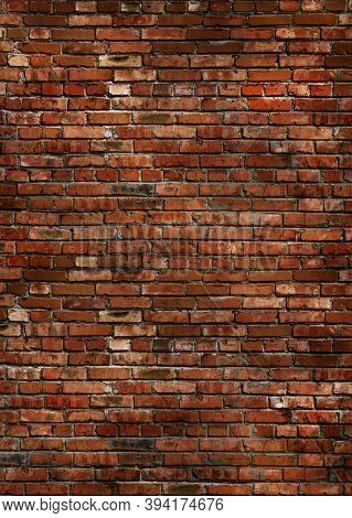 Grungy dark red brick wall texture background