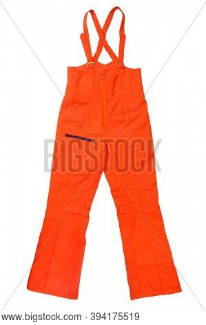 Orange Snow Pants on white background with clipping path