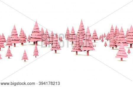 Background With Christmas Trees. New Year. Christmas Card. 3d Rendering. New Year Banner With Blank