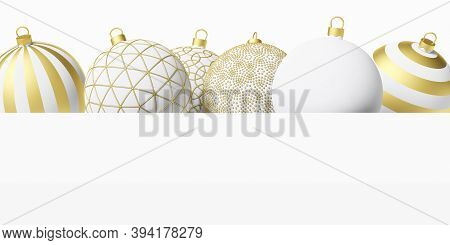 New Year. Christmas Balls On A White Background. 3d Rendering. Christmas Card. Christmas Balls. Whit